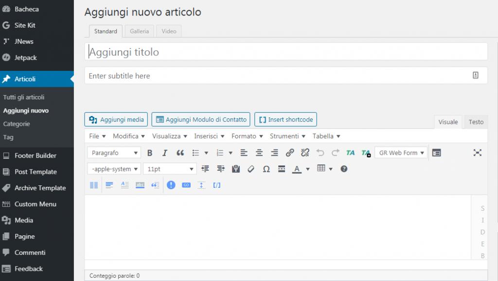 creare sito web wordpress articoli